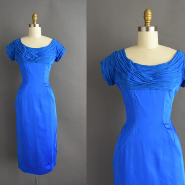 vintage 1950s | Gorgeous Royal Blue Satin Cocktail Party Wiggle Dress | Small | 50s dress by simplicityisbliss