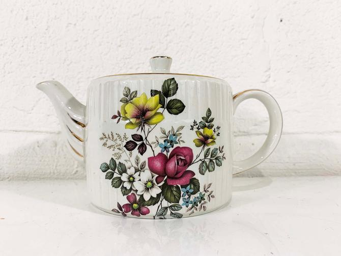 True Vintage Teapot Ellgreave England Pink Yellow Rose Design White Gold Trim Genuine Ironstone Tea Coffee Pot Kitsch Kawaii Flowers Floral by CheckEngineVintage