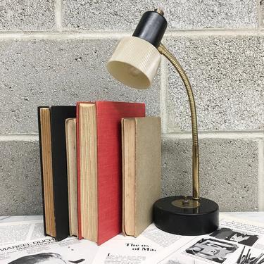 Vintage Desk Lamp Retro 1960s Mid Century Modern + Adjustable Gooseneck + Black + Brass + Gold + Mood Lighting + MCM + Home and Table Decor by RetrospectVintage215