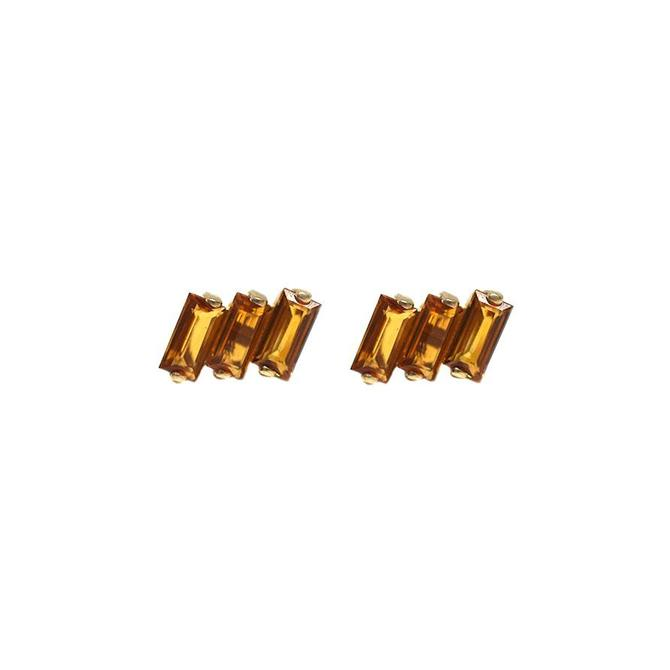 Three Baguette Earrings - Citrine