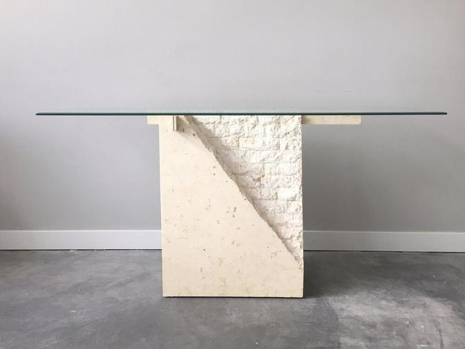 vintage white tessellated stone console table