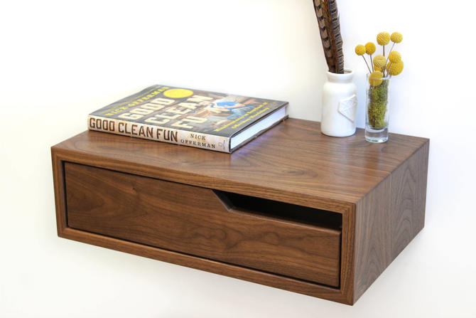 Walnut Hanging Nightstand / Bedside Table by ImagoFurniture
