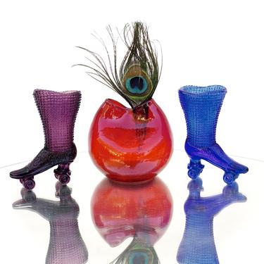 BLENKO   #39 Ivy Vase   Handblown Ruby Red Crackle Pinch Vase by ELECTRICmarigold