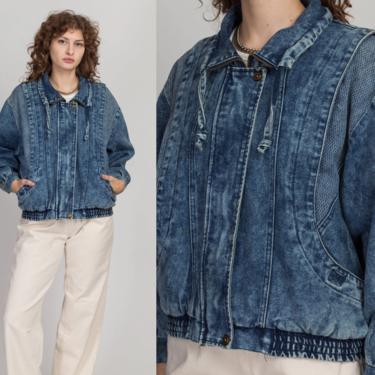 80s Acid Wash Lightweight Denim Jacket - Large   Vintage Distressed Oversized Grunge Jean Chore Coat by FlyingAppleVintage