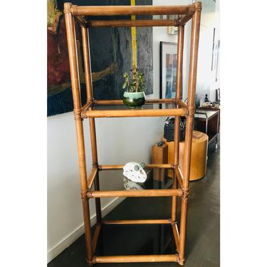 Vintage Bamboo Etagere Shelf System Smoked Glass