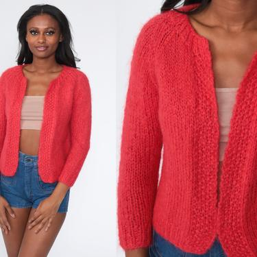 Red Wool Sweater MOHAIR Cardigan Sweater 80s Knit Open Front Wrap Plain Slouchy 70s Vintage Retro Small S by ShopExile