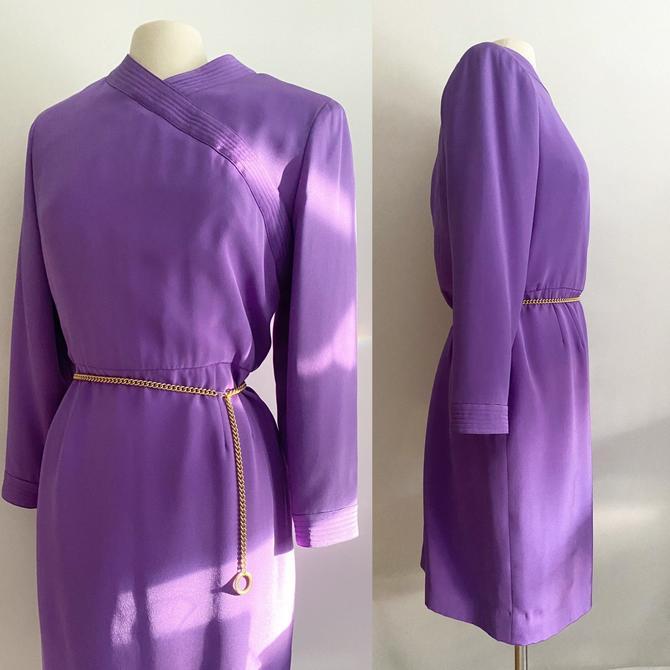 Stanley Platos / Martin Ross Purple Sheath Dress 1980s Large by ChicBeatVintage