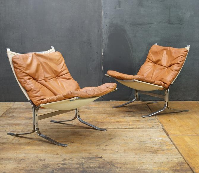 Pair of Danish Modern Steel Leather Sling Chairs Vintage Mid-Century Scandinavian by BrainWashington