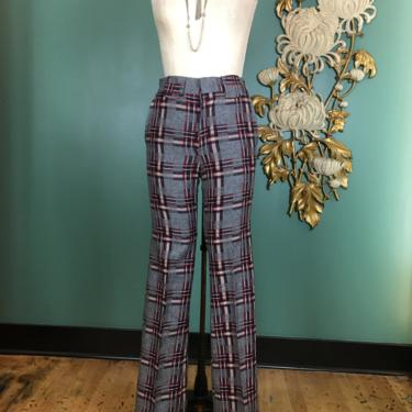 1970s pants, vintage 70s pants, plaid wool, vintage trousers, mcMurray, deadstock, gray and burgundy, 28 29, high waist, 36 inseam, menswear by BlackLabelVintageWA