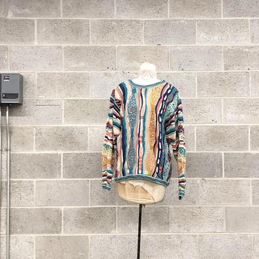 Vintage Coogi Sweater Retro Unisex Size M Teal + White + Blue + Peach Knit Long Sleeve Crew Neck Pullover Australia Fall Winter Fashion by RetrospectVintage215
