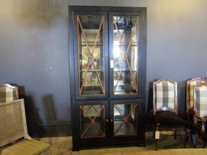LARGE NEOCLASSICAL CABINET WITH GLASS DOORS, MIRRORED BACK AND TWO LIGHTS