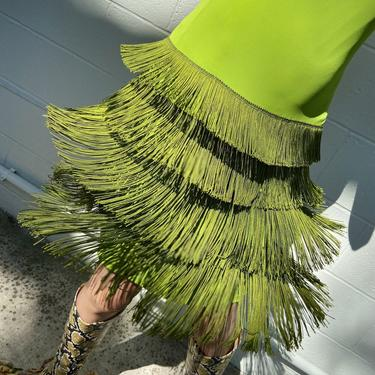 MOSCHINO Cheap and Chic 90s Lime Green Fringe Dress
