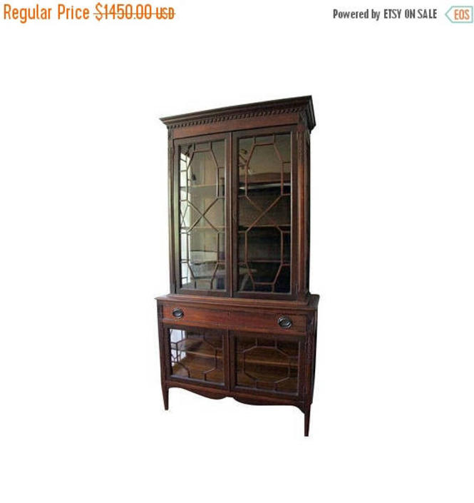 30% OFF Antique Regency Mahogany Latticework Breakfront Cabinet by MetronomeVintage
