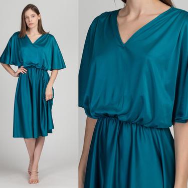 70s Teal Flutter Sleeve Blouson Dress - Medium | Vintage Knee Length Blue Green Midi Party Dress by FlyingAppleVintage