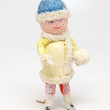 Antique German Spun Cotton Doll with Snowball for Christmas Putz Nativity or Creche, Vintage Decor by exploremag