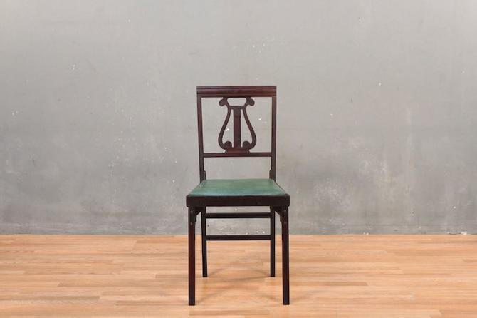 Leg-O-Matic Lyre-Back Fern Folding Chair