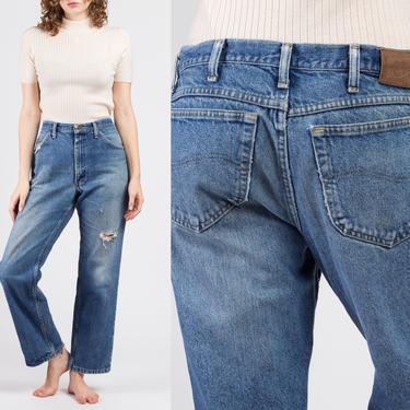"80s Distressed High Waist Lee Boyfriend Jeans - 36"", Men's Large, Women's XL   Vintage Denim Pants Medium Wash Dad Jeans by FlyingAppleVintage"