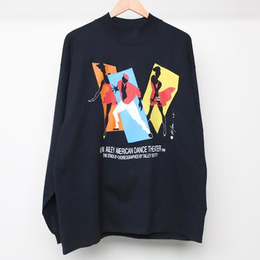 vintage ALVIN Ailey AMERICAN dance theater 1990 black mock neck thick t-shirt top African American dance NYC top -- size xl by CairoVintage
