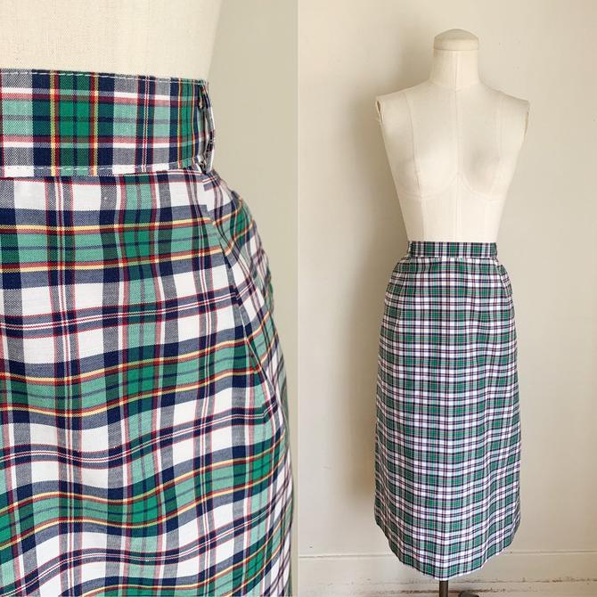 "Vintage 1970s Plaid Pencil Skirt / 31"" waist by MsTips"