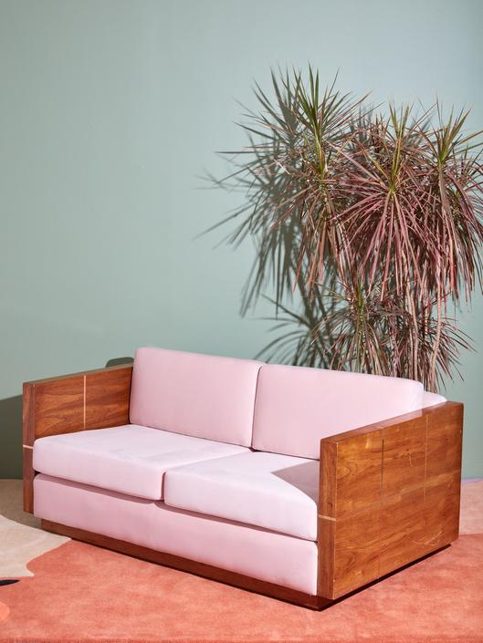 Milo Baughman Style Wood Case Loveseat
