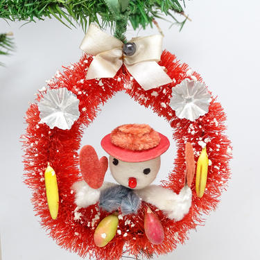 Vintage Red Bottle Brush Christmas Wreath Ornament with Snowman, Fruit, Retro Decoration by exploremag