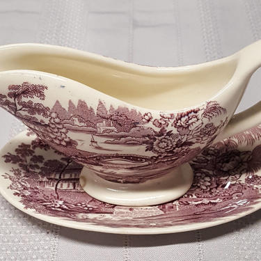 Vintage Royal Staffordshire By Clarice Cliff (China/England) Tonquin Plum Individual Gravy Bowl and Dish by OverTheYearsFinds