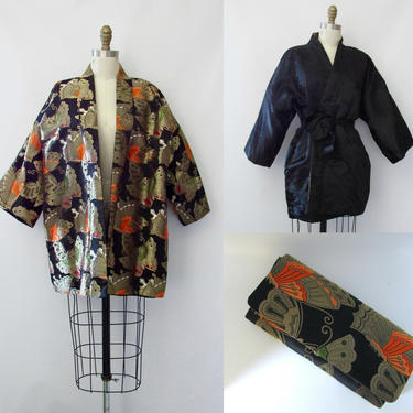 MADAME BUTTERFLY Vintage 90s Reversible Asian Jacket & Clutch | 1990s 2000s Japanese Kimono Brocade Tapestry Top w/ Bag Purse | Medium Large by lovestreetsf