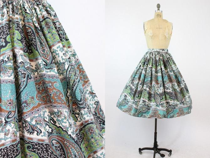 1950s full skirt | paisley print | medium by CrushVintage