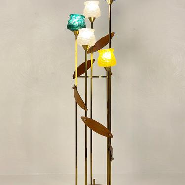 Large Mid Century 3-Way Brass and Walnut Floor Lamp, Circa 1950s - *Please ask for a shipping quote before you buy. by CoolCatVintagePA