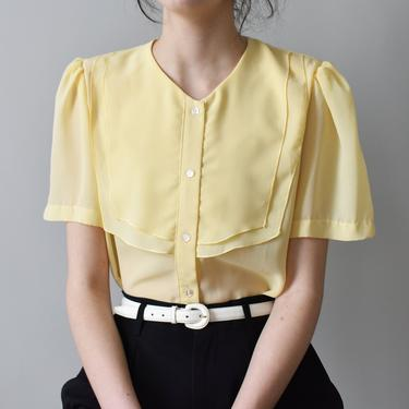vintage puff sleeve yellow chiffon flutter blouse, size M by ImprovGoods