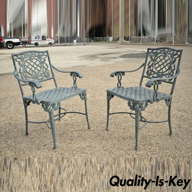 Pair French Neoclassical Green Cast Iron Lattice Garden Patio Dining Arm Chairs