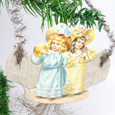 Early 1900's Victorian Die Cut and Tinsel Christmas Scrap Ornament. Girls, Antique Crepe Paper, Vintage Decor by exploremag