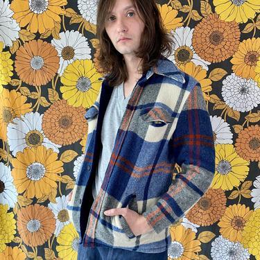 1970's Blue Plaid Shirt Jacket