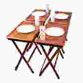 Danish Teak Set of 4 Collapsable TV Dinner / Snack Trays