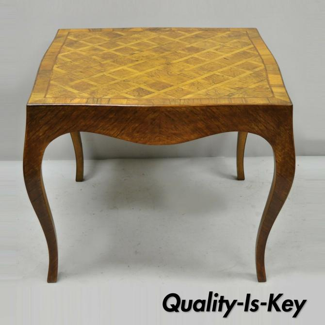Italian Parquetry Inlay Olive Wood Square Coffee Side Table Louis XV Style