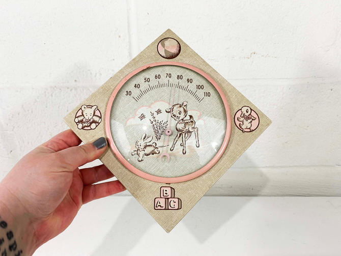 Vintage Baby Temp Thermometer Wall Hanging Nursery Pink 1969 1960s 60s USA Rodan Creations Cute Kitsch Kawaii Baby Kids Room by CheckEngineVintage