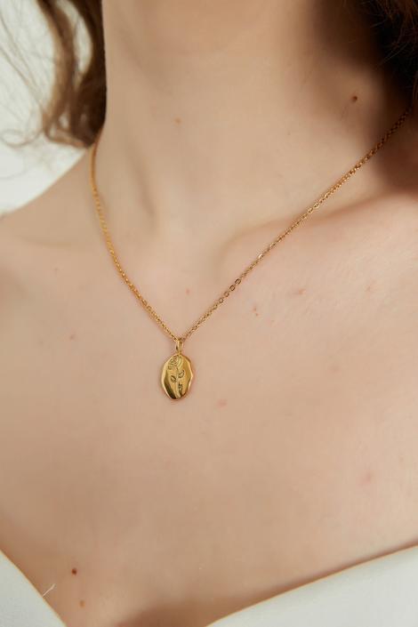 Valeria gold floral pendant necklace, gold pendant, pendant necklace, gift for her, rose pendant necklace, gold flower pendant necklace by melangeblancdesigns