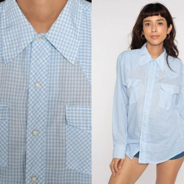 Blue Gingham Shirt 70s WESTERN Pearl Snap Plaid Top Baby Blue Checkered Long Sleeve Button Up 1970s Plaid Vintage Medium by ShopExile