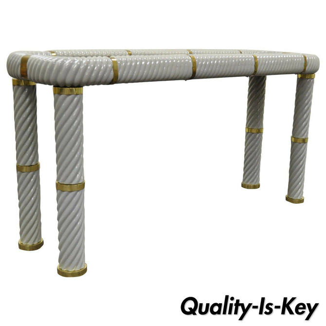 """Tommaso Barbi Porcelain Brass Glass Spiral Grey 60"""" Console Sofa Hall Table"""