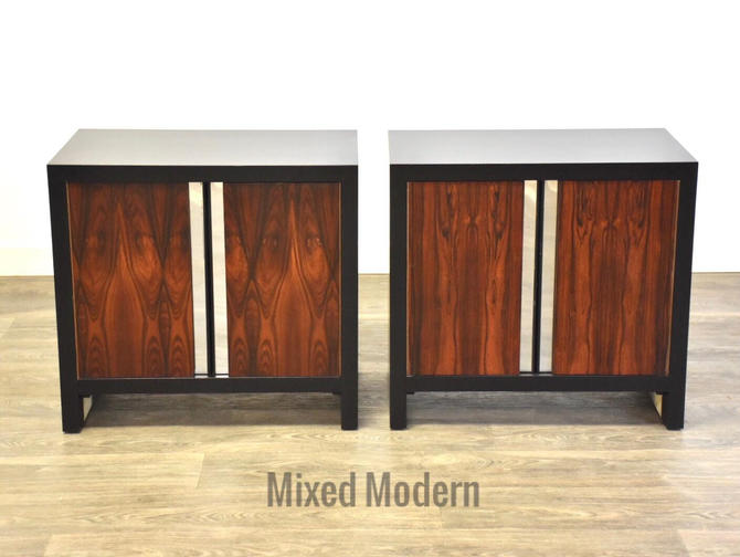 Rosewood & Chrome Nightstands- a Pair by mixedmodern1