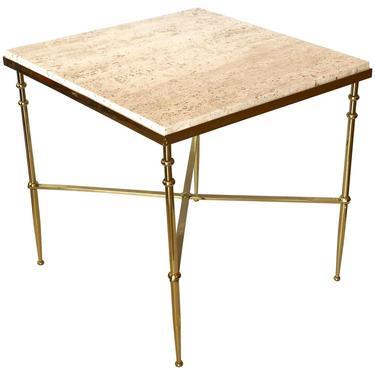 Classic Italian Brass & Travertine Square Cocktail Table