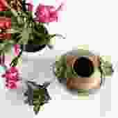 Vintage Brass Squat Vase with Floral Accents
