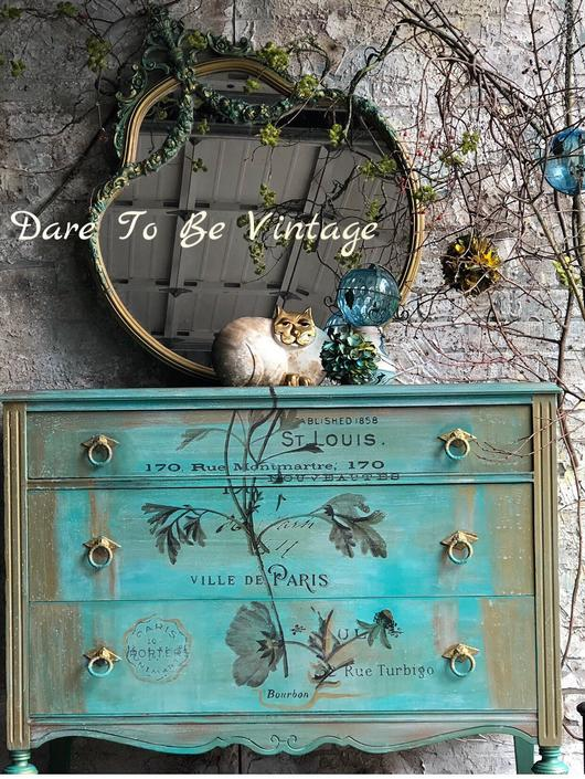 French Farmhouse Painted Dresser - Vintage Dresser -  Buffet -  Bohemian Dresser - Painted Dresser - Painted Sideboard Buffet by DareToBeVintage