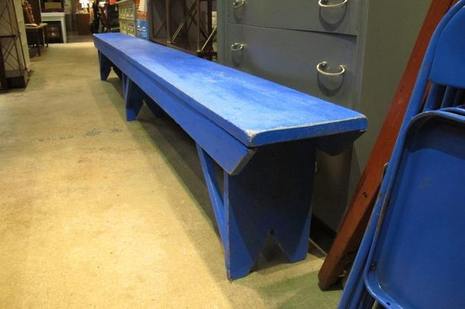 Blue painted wood bench. 12ft long. $295