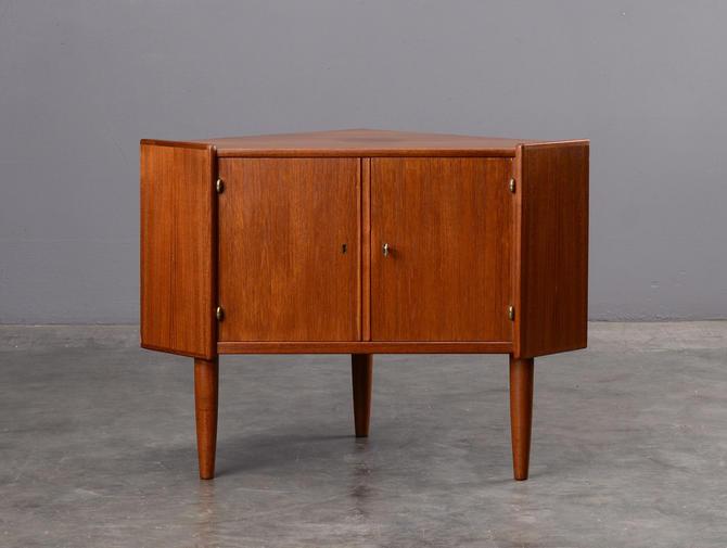 Mid Century Corner Cabinet Teak Danish Modern by MadsenModern