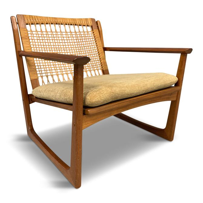 Hans Olsen Teak and Cane Lounge Chair for Juul Kristensen Mid-Century