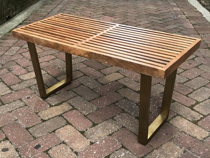 Slat Bench with Brass Legs