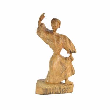 Vintage Carved Italian Folk Art Dancing Woman in Dress Wood Sculpture by PrairielandArt