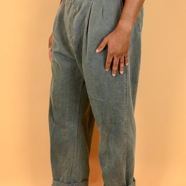 Vintage Gray Garment Wash Pleated Pants Trousers 35x33 35x32 35x34 36x33 36x32 36x34 by MAWSUPPLY