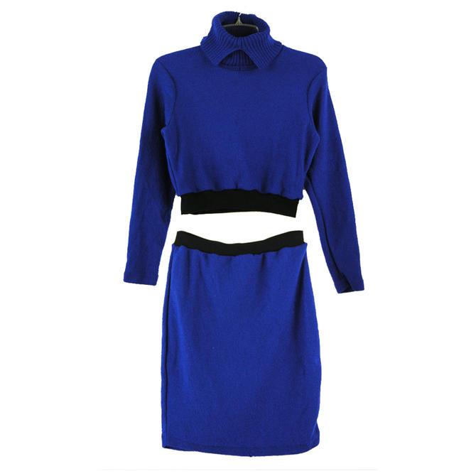2pc Cobalt Blue Turtleneck Knit Set